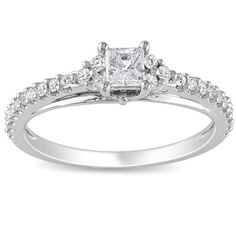 14k White Gold Princess-Cut Diamond Engagement Ring (1/2 cttw, G-H Color, I1-I2 Clarity)