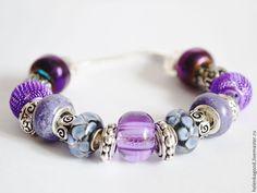 Купить браслет евро шарм Сиренево-фиолетовый 207 - фиолетовый, браслет, женский браслет