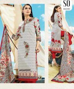 Salwar Kameez Coton Blanc Rouge/Bleu