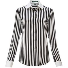 Lauren by Ralph Lauren Callia silk striped blouse ($125) ❤ liked on Polyvore featuring tops, blouses, camisas, shirts, women, long-sleeve shirt, silk blouses, long sleeve silk blouse, long sleeve collared shirts and long sleeve blouse
