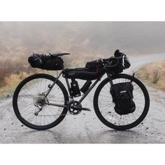 """youcantbuyland: """" ・・・ Pannier x Quoc Tour Bikes . > Stefan's Straggler. Front panniers for the groups' food, camp-cook setup, and extra supplies > Ben's Bivio > Chris' Faran. Off Road Bikes, Camping Style, Bike Bag, Touring Bike, Travel Tours, Outdoor Camping, Bike Packing, Allan, Panniers"""