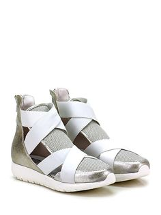 Andia Fora - Sneakers - Donna - Sneaker in pelle laminata e tessuto lavorato con zip su retro e multi fasce frontali. Suola in gomma, tacco 35, platform 20 con battuta 15. - BIANCO\SILVER