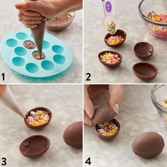 The annual Easter egg hunt is about to get a lot sweeter with these sprinkle-filled chocolate eggs. Learn how to make them using our Petite Easter Egg Mold and Light Cocoa Candy Melts. Coconut Hot Chocolate, Chocolate Bomb, Easter Chocolate, Chocolate Molds, How To Make Chocolate, Homemade Chocolate, Melting Chocolate, Chocolate Recipes, Easter Egg Moulds