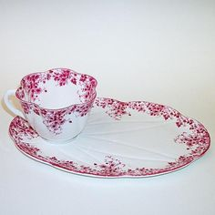 Shelley China Dainty Pink Tea and Toast / Snack Plate and Cup Set - 051/P.