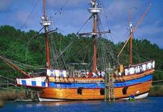 The Elizabeth II is a replica sailing ship at Festival Park on Roanoke Island