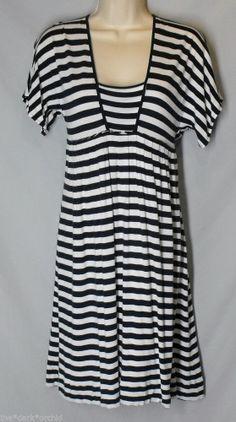 BANANA REPUBLIC size M Medium Navy Blue & White Stripe Nautical Dress Jersey #BananaRepublic #EmpireWaist