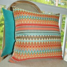 Turquoise Coral Zig Zag Chevron Pillow Front & by MotifPillows