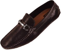 Amali Mens Driving Moccasin Loafer in BlackSnake Skin Print with Silver Ornament Style Viper Black-000A Faux Exotic Printed Snake Skin Driving Shoe withSilver Horse Bit OrnamentThese Shoes are both Stylish and ComfortableClick to View this Style in: Red, Grey, White, Purple, Brown