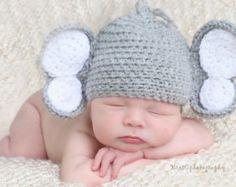 Elefante bebé ganchillo sombrero, sombrero de elefante recién nacido, bebé sombrero del elefante, elefante del sombrero del ganchillo, elefante del sombrero del ganchillo, sombrero del elefante foto Prop