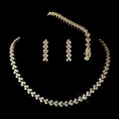 Gold Clear Oval CZ Crystal Necklace 2026, Earrings 2024 & Bracelet 2026 3 Piece Linked Bridal Jewelry Set