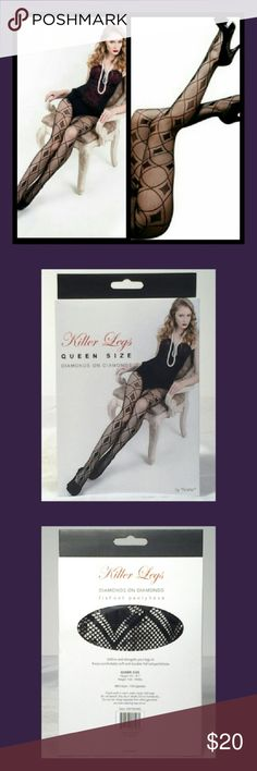 Women stocking, pantyhose, & tights Ladies criss cross design fishnet tights for the plus size lady, beautifully design fishnet with a diamond pattern top of the tights to the foot color black made of 88% nylon and 12% spandex dress up any casual or evening wear Yelete Accessories Hosiery & Socks