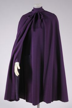 Woman's dress and cape | Designed by Gustave Tassell (American, 1926-2014) | United States, 1960-1975 | Purple wool knit | Philadelphia Museum of Art
