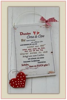 Dekoschild – Danke Oma und Opa Lieferung wie abgebildet mit rotem Pünktchenherz… Dekoschild – Thank you grandma and grandpa delivery as shown with red dot heart – handmade Not suitable for outdoor use. x cm Weight approx. 320 g MDF -… Diy Gifts For Christmas, Mother Christmas Gifts, Diy Father's Day Gifts, Father's Day Diy, Mother Gifts, Fathers Day Gifts, Etsy Christmas, Grandpa Birthday Gifts, Grandpa Gifts