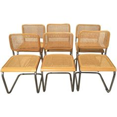 Image of Vintage Italian Beechwood & Cane Chairs - Set of 6