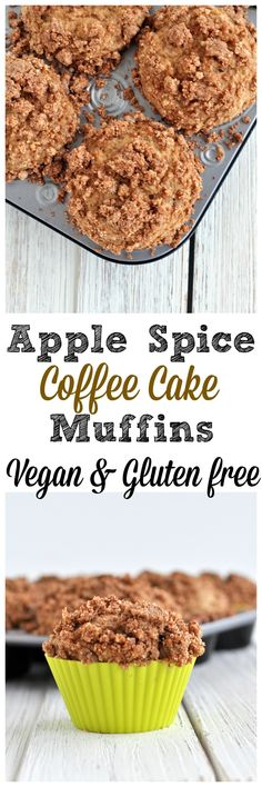 Warm spices and a crunchy topping make these apple spice coffee cake muffins special. Vegan