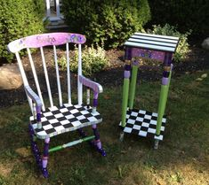 Custom Hand Painted Childs Rocking Chair
