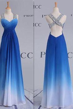 Blue Chiffon Prom Dress,Backless Long Prom Dresses,Floor Length Evening Dress by fancygirldress, $150.00 USD