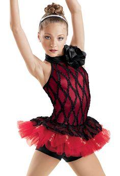 Red Ribbon Mesh Skirt Biketard -Weissman Costumes