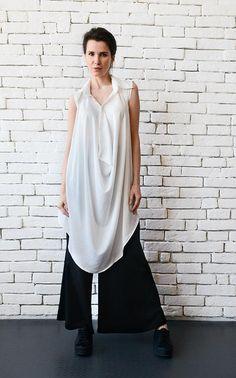 NEW White Loose Long Top/Sleeveless Maxi Tunic/Asymmetric