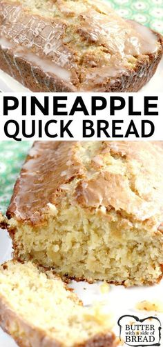 sweet bread Pineapple Quick Bread is sweet, moist and absolutely delicious, especially with a simple pineapple glaze on top! This quick bread is made with crushed pineapple, cream cheese, sour cream and a few other basic ingredients. Yummy Recipes, Quick Bread Recipes, Bread Machine Recipes, Pudding Recipes, Baking Recipes, Yummy Food, Basic Sweet Bread Recipe, Simple Food Recipes, Recipies