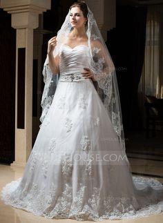 - $39.99 - 1 couche Voiles de mariée chappelle avec Bord en dentelle (006034317) http://jjshouse.com/fr/1-Couche-Voiles-De-Mariee-Chappelle-Avec-Bord-En-Dentelle-006034317-g34317