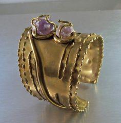 Brutalist Cuff Bracelet Amethyst Brass Mid by LynnHislopJewels