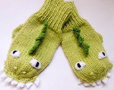 Dinosaur Dragon Mittens knit by Wistfully Woolen