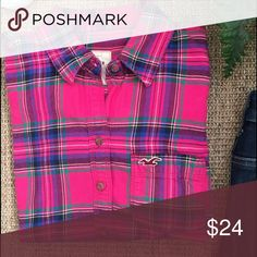 HOLLISTER Hot Pink Flannel Shirt Pre-Loved Condition. Really cute hot pink & black flannel shirt from Hollister. Black jeans & booties create a really cute outfit! Hollister Tops Button Down Shirts