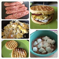 Delicious breakfast!!! Waffles with turkey bacon, cream cheese and scrambles eggs + hot chocolate with marshmallows!!!!