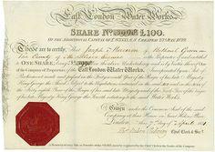 East London Water Works London, 01.04.1831, 1 Share über £ 100, #3998, 22,9 x 33 cm, schwarz, beige, Knickfalten, rotes Siegel.
