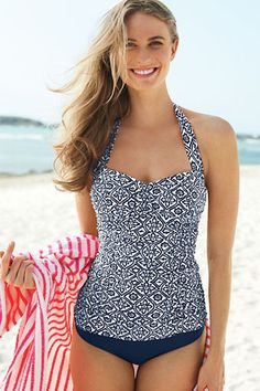 Womens Beach Living Batik Princess Tankini Top from Lands End