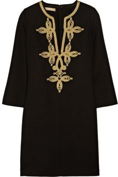 Embroidered Woolcrepe Tunic Dress - Lyst
