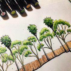 Resultado de imagem para projeto de paisagismo - Desingn: Malen, SketchBook & Co - Landscape Architecture Drawing, Landscape Sketch, Architecture People, Landscape Drawings, Landscape Design, Copic, Tree Plan, Tree Sketches, Color Plan