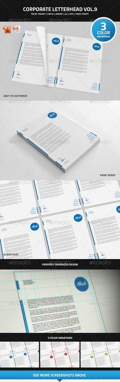 #Corporate #Letterhead vol.9 - #Stationery Print Templates