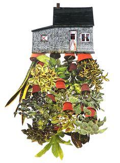 "Original hand threaded art work:""Room Plant"" by hagar vardimon-van heummen, Happy Red Fish Art School London, Collage Artists, Collages, Thread Art, Plant Art, Dutch Artists, Red Fish, Fish Art, Botanical Prints"