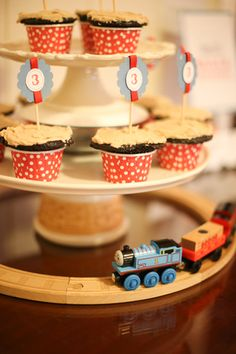 Thomas and Friends, the train, DIY boys 3rd birthday party, cupcake tower, on a budget, cupccake picks
