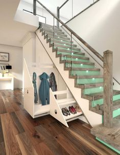Glass Staircase With Raw Wood Newel Posts And Under Stairs Drawers Under Deck Stairs Storage Plans Build Your Own Under Stair Storage Under Stairs Diy Storage Solutions Under Stairs Drawers, Stair Drawers, Storage Drawers, Diy Storage, Diy Drawers, Space Under Stairs, Clothes Storage, Hidden Storage, Smart Storage