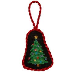 Christmas Tree Needlepoint Christmas Ornament in Black by Smathers & Branson