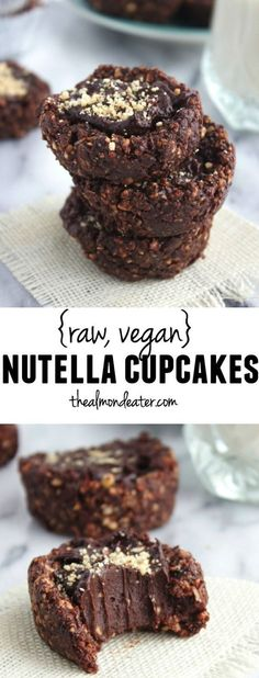 Raw Vegan Nutella Cupcakes-These combine chocolate and hazelnuts with good-for-you ingredients! (no bake layered desserts) Raw Vegan Desserts, Raw Vegan Recipes, Vegan Treats, Vegan Foods, Delicious Desserts, Dessert Recipes, Yummy Food, Vegan Raw, Paleo Dessert