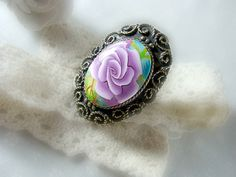 Rose Polymer Clay Adjustable Ring by OlgaeFIMOva on Etsy, $45.00