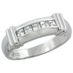 Sterling Silver Men's Channel Set Princess CZ Wedding Ring Band, 1/4 in. 6.5 mm, Size 9 Sabrina Silver. $43.00. Save 54%!