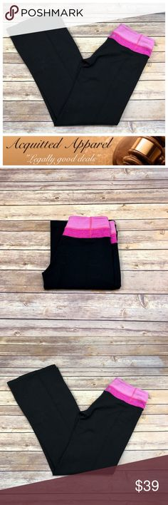 """[Lululemon] Black and Pink Yoga Pants Excellent pre loved condition. Bought these for my mother in law and she only wore a couple of times. Size 4. Rip tag removed.   - Size 4  - 9"""" Rise  - 31"""" inseam   Item location D-45 lululemon athletica Pants Track Pants & Joggers"""