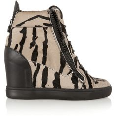 Giuseppe Zanotti Tiger-print calf hair and leather wedge sneakers ($631) ❤ liked on Polyvore featuring shoes, sneakers, black, leather shoes, black wedge sneakers, zipper sneakers, black shoes and hidden wedge heel sneakers