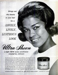 I am pretty sure this is Abbey Lincoln in this 1963 Ultra Sheen ad. Retro Ads, Vintage Advertisements, Vintage Ads, Vintage Black Glamour, Vintage Beauty, Vintage Hairstyles Tutorial, Scalp Conditions, Beauty Ad, Hair Beauty
