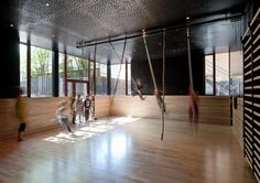 kids' gym simplified: ropes to run and swing with Back to School: An Unorthodox Campus in Denmark : Remodelista ideas foer aerial silk room`/ Basement Gym, Garage Gym, Basement Remodeling, Sport Studio, Gym Images, Indoor Gym, Gym Interior, Interior Design, Kids Gym
