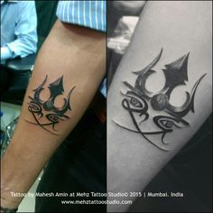 Script Rudra & Trident with rudraksh Done at Mehz Tattoo Studio