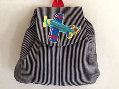 Boys Hickory Striped Denim Backpack with by SierraMtnEmbroidery