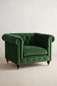 Velvet Lyre Chesterfield Armchair, Hickory #anthrofave