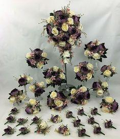 Hand-tied Dusty Purple Peony/Cream Rose Flowers Bridal Wedding Bouquet Set #cintahomedeco #Wedding #ArtificialFlowers Purple Peonies, Dusty Purple, Cream Roses, Rose Flowers, Artificial Flowers, Peony, Wedding Bouquets, Floral Wreath, Wreaths