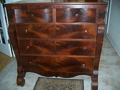Antique 1810 Empire Furniture Tiger / Flame Chest... seriously if someone painted over this that would be a crime.